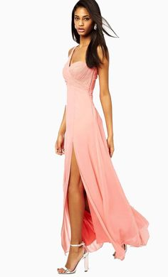 Made from a delicate chiffon. Sweetheart neckline. One shoulder design. Ruched and beaded detailing. ...