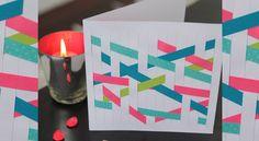 Une carte graphique et fluo On joue avec le papier découpé et les rubans pour créer un tissage unique et facile à réaliser sur une carte de voeux. http://www.prima.fr/loisirs-creatifs/une-carte-de-voeux-tissee/7929502/