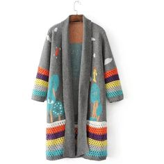 Fashion Open front Printed Long Knit Cardigan (2.200 RUB) ❤ liked on Polyvore featuring tops, cardigans, knit top, open front tops, open front cardigan, long cardi and open front knit cardigan