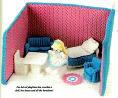 Last-Minute CHRISTMAS Novel Fold-Up Dollhouse and Doll 3d Crochet Toy Pattern PDF Girl Gift idea Home-Made