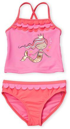 Angel Beach Little Girls Ethnic Print Flounce Bikini Swim Set