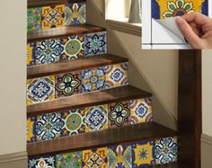 Tile Stickers Vinyl Decal WATERPROOF REMOVABLE for kitchen bath WAL floor or stair: Mexican Mix Decals Tr002