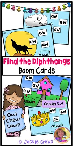 This is a set of 18 Boom Cards with diphthongs -ew, -aw, and -ow (like down). I added sound to each card in the deck. Students will listen to the words that match the graphics on each card. They are to type the correct diphthongs in the blanks. #diphthongs, #ew, #ow, #aw, #Jackiecrews, #BOOM CARDS, #Englishlearners, #distancelearning, #firstgrade, #secondgrade, #kindergarten, Creative Teaching, Teaching Resources, Teaching Ideas, Elementary Teacher, Upper Elementary, Phonics, Curriculum, Task Cards, Learning