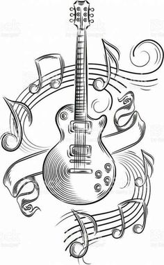 Music note drawing artworks tattoo ideas 33 New Ideas - Music note drawing artworks tattoo ideas 33 New Ideas drawings Music - Music Drawings, Music Artwork, Pencil Art Drawings, Art Drawings Sketches, Cool Drawings, Tattoo Drawings, Guitar Drawing, Guitar Art, Guitar Sketch