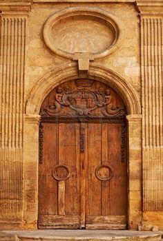 Aix en Provence, France Just think of all of the history this door has witnessed! Aix En Provence, Provence France, Old Wooden Doors, Old Doors, Southern France, Unique Doors, Door Knockers, Balconies, Paris Travel