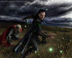 Thor and Loki by *eleathyra on deviantART....I love her art. She does an amazing job!