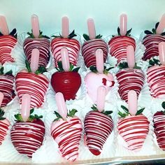 Pink & Burgundy Chocolate Covered Strawberries with pink Pina Colada flavored infusion.