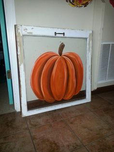 Pumpkin painted in acrylics on windowpane. Check out canvasprecision.weebly.com