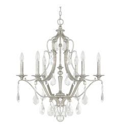 Capital Lighting 4186AS-CR Blakely 6 Light 28 inch Antique Silver Chandelier…