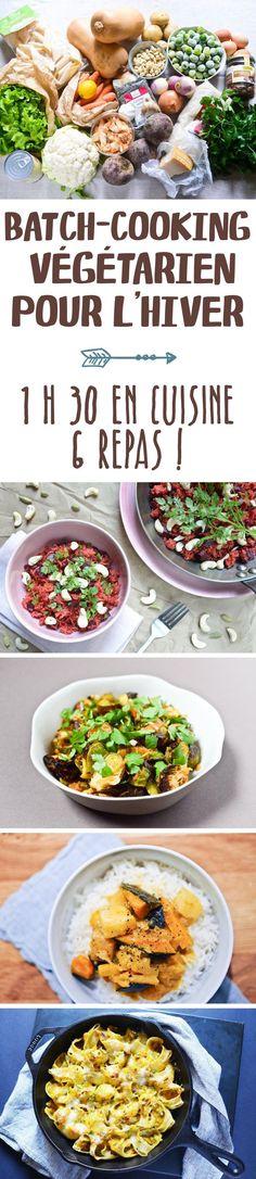 Je vous offre une proposition debatch cooking végétarien pour l'hiver, que j'ai créée et testée pour vous : 1 heure 30 de préparation en amont pour 6 repas faciles les jours suivants.