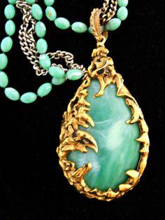 Modernist Pendant Necklace Faux Green Jade by RenaissanceFair, $40.00
