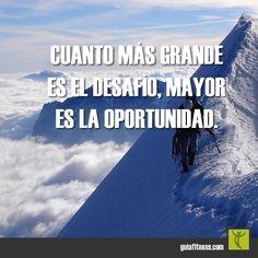Grandes desafíos, grandes oportunidades #desafio #oportunidad #challenge #motivacion #frases #fitness #motivation #quotes #guiafitness #