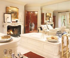 You don't even know what I would do to have a fireplace in my bathroom. You wouldn't believe me if I told you.