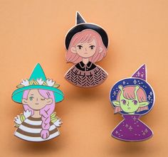 Shop Witch Trio enamel pins from Heikala in Clothing accessories, available on Tictail from $30.00