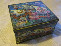 Vintage Peek Frean Three Ships Biscuit Tin 1960's Poseidon