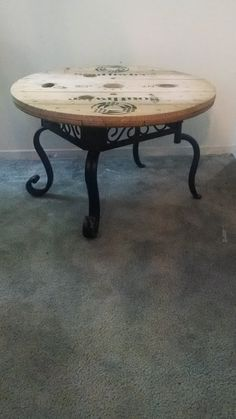 Items I Love by Sharon on Etsy:Wooden Spool Table, Wrought Iron Table, Upcycled Furniture, Round Coffee Table, Handmade $249.00