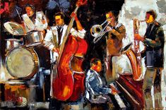 Abstract jazz painting oil on canvas drums, bass, trombone, saxophone, piano
