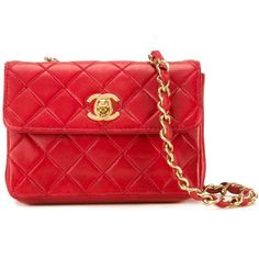 Chanel Vintage micro flap crossbody bag ($2,306) ❤ liked on Polyvore featuring bags, handbags, shoulder bags, red, quilted purses, chanel handbags, quilted chain shoulder bag, cross-body handbag and vintage purses