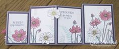 Fourfold Four fold card Stampin Up DIY opened tutorial