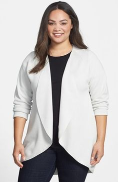 Eileen Fisher Long Silk & Cotton Oval Cardigan (Plus Size) on shopstyle.com