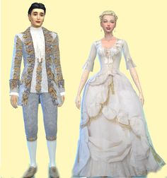 "weeberry: "" Sims 4 rococo wedding clothes DOWNLOAD: Woman's wedding dress is a recolor of a conversion by Kiara at MyStuff Man's jacket and pants are recolors of Kiara's rococo suit for men "" …and..."