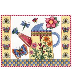 Janlynn Butterfly Watering Can Counted Cross Stitch Kit