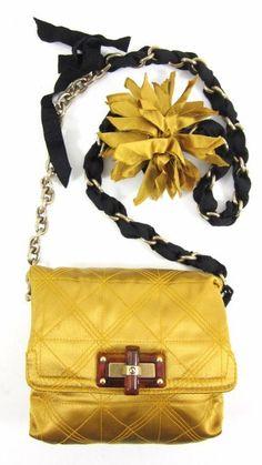AUTH LANVIN Gold Satin Chain Link Grosgrain Strap Mini Pop Handbag @ ShopLindasStuff.com
