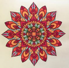 """This mandala is from """"Beautiful Mandalas For Serenity and Stress Relief (2017),"""" a nice collection of Shutterstock designs. Colored by B. Holmes 12-2017 with Kuretake Zig Real Brush Markers (dark pink, pink, light carmine, tea rose, pale rose, haze blue and shadow mauve, May green). #mandala #kuretake"""
