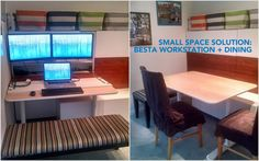Living in a small space, I came up with this idea to use the BESTA cabinets, and also use the cabinets as a hidden office/ dining bench.