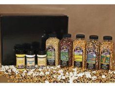 This gift set includes: one 15 oz. bottle of Wisconsin White Birch Popcorn, one 15 oz. bottle of Savanna Gold Popcorn, one 15 oz. bottle of Red River Valley Popcorn, one 15 oz. bottle of Harvest Blend Popcorn, one 15 oz. Popcorn Gift, Flavored Popcorn, Gourmet Popcorn, Cheese Popcorn, Wacky Holidays, Perfect Popcorn, Black Gift Boxes