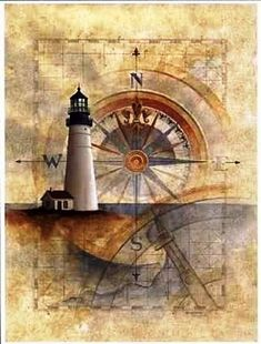 Vintage Nautical,Lighthouse with Compass,Wall Decor, Nautical Theme, Modern Reproduction Wall Hanging,