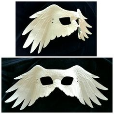 White Leather Raven Wing Mask by GriffinForge on Etsy