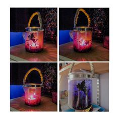 Fairy moorland scene, hand painted glass decorative jar lantern on hanging rope, suitable for tealights or faux candles. The jar depicts a fairy