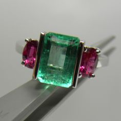 Composition: Solid White Gold Primary Stone: Natural Colombian Emerald Shape or Cut: Emerald Cut Approx Emerald Weight: Over Carats emeralds) Treatment Emerald: no heat ~ Only Oil Average Emerald Gemstone, Emerald Jewelry, Gemstone Colors, Gemstone Jewelry, Emerald Cut, Vintage Rings, Vintage Jewelry, Antique Jewelry, Vintage Emerald Rings