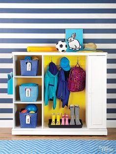 Equip an entertainment center for entryway organization! http://www.bhg.com/decorating/makeovers/furniture/before-and-after-furniture-makeovers/?socsrc=bhgpin030715entrywayorganizer&page=22
