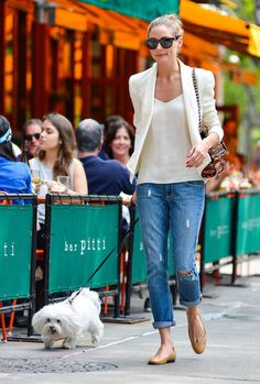 Blue Jean Baby: 25 Celeb-Approved Ways to Do Denim: To give your favorite jeans a summery spin, just add a white tank and matching blazer like Olivia Palermo did while walking her pup in NYC.