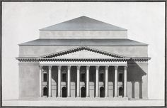 Variant 5 Date: 1803 - 1811 Technique: drawing-pen, pen and brush and Indian ink on laid paper Dimensions: cm Pen Pen, Big Building, Hermitage Museum, Architectural Drawings, Paper Dimensions, Facade, Theatre, Maine, Buildings