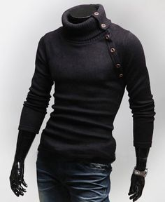 Stylish Turtleneck Personalized Multi-button Solid Color Long Sleeves Wool Blend Sweater For Men