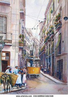 Granada. Tranvía 4 en Calle la Colcha