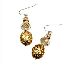 gold filagree and crystal earrings by JustineBrooks on Etsy