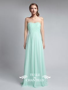 Fresh Mint Green Strapless Sweetheart Long Chiffon Bridesmaid Dress  @buterflyskater cute! and it comes in a lavender!