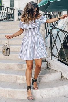 Backless Stripe Off The Shoulder Mini Dreses Cute Dresses, Casual Dresses, Fashion Dresses, Maxi Dresses, Shift Dresses, Summer Outfits, Cute Outfits, Summer Dresses, Off Shoulder Dresses