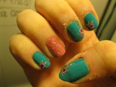 Green with decals, pink with glitter. I poured loose glitter and clear nail polish and mixed them together then painted on with a small brush.