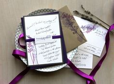 Lavender In Love - Rustic Wedding Invitations - Romantic Purple, Plum, Rustic Gray, Taupe - Purchase for a Sample