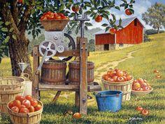 Cider Time John Sloane--so I like corny art! Decoupage, Jig Saw, Apple Theme, Farm Art, Country Scenes, Thomas Kinkade, Down On The Farm, Summer Prints, Country Art