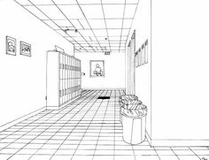 Drawing familiar environments, with the ability to work from observation, is often beneficial. You might choose to draw the hallway outside your classroom – with lockers and rubbish bins, as in the example above, or other internal spaces around your school.