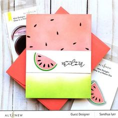 Description Intro Video Do you love watermelon? Biting into the cold, juicy fruit is a fond childhood memory for many of us. Now, you can add a fruity sentiment and image to your handmade projects to let your loved ones know just how much you care. This cute mini set includes a multi-layered melon and a punny sentiment Watermelon Patch, Fun Crafts, Paper Crafts, One In A Melon, Cute Fruit, Juicy Fruit, Exotic Fruit, Scrapbook Pages, Scrapbooking