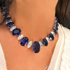 @chatilajewels OVAL SAPPHIRE AND MARQUISE DIAMOND NECKLACE! For a line necklace lover like me... this is heaven!!!! #thediamondsgirl