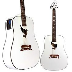 Lindo White Dove Electro Acoustic Guitar with Integrated Preamp/Tuner with LCD