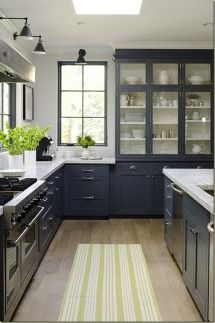 Get the blues with this grey-blue cabinet color. | Gallery & Inspiration | Collection - 277 - Style Me Pretty